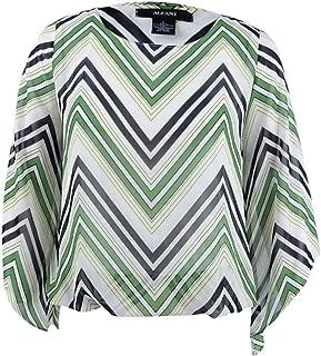 Alfani Top Blouse Mixed Media Shirt Pullover Women Blue Size L NEW NWT 280