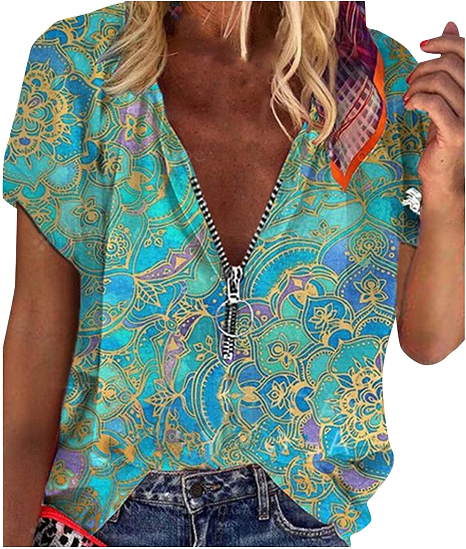 FABIURT Women's Summer Fashion V-Neck Floral Printed Zipper Loose Fit Short Sleeve Tee Shirts Tops Blouse