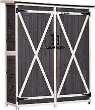 MCombo Storage Shed Backyard Utility Tools Organizer Outdoor Wooden Garden Racks Shelves with Lockers 2 Doors Home Furnitu...