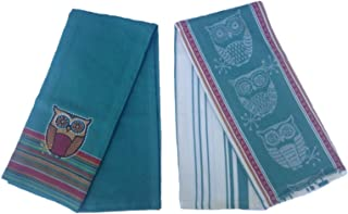 Spice Road Owl Tea Towel Set of 2 Teal Owl Kitchen Towels