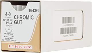 Ethicon Surgical Gut (Chromic) Suture, 1643G, Natural Absorbable, PS-4 (16 mm), 1/2 Circle Needle, Size 4-0, 18