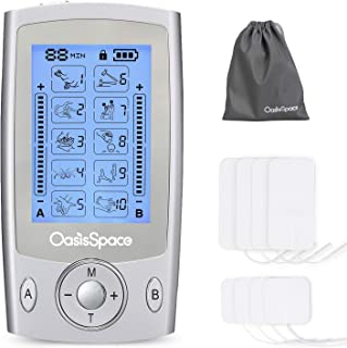 OasisSpace Tens Unit EMS Rechargeable Dual Channel Muscle Stimulator Machine with 8 Pads, Electrode Massager, Electronic Pulse Massager FDA 510K Clear