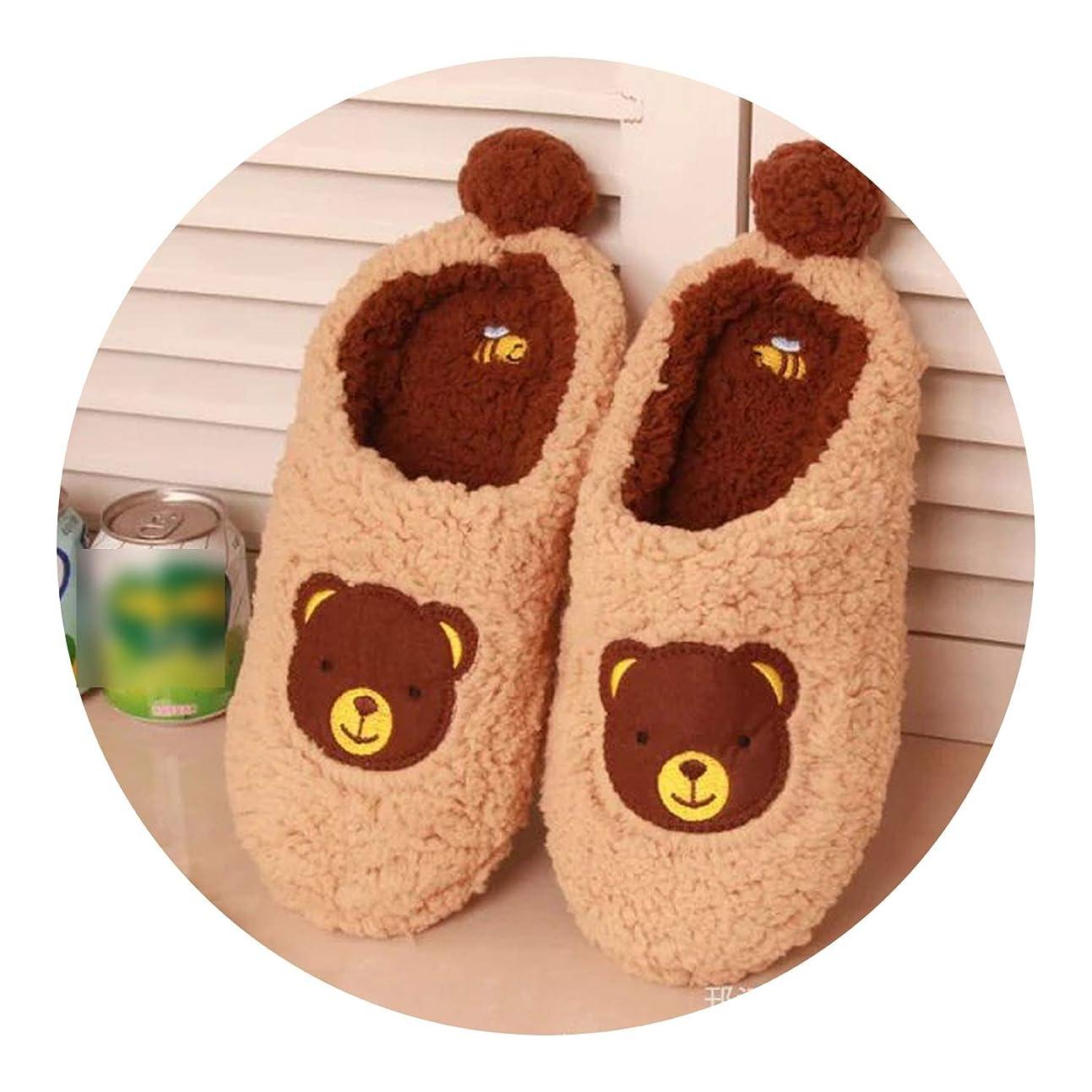 一般的に言えば制限お世話になったかわいい クマ 家 靴綺麗なスリッパ室内 大人 子供柔らかい底秋 冬 綿 靴