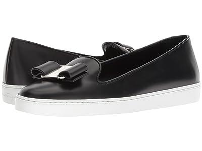 Salvatore Ferragamo Novello Leather Bow Slip-On Sneakers (Nero) Women