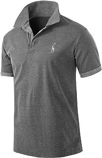 Pinkpum Men's Polo Shirts Golf Sports T-Shirt Short Sleeve Solid Cotton Polo Shirts - Grey - X-Large