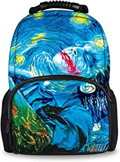 Unisex Fashion Backpack, Water Resistant bag for Travel Gym school (starry night Joker Painting)