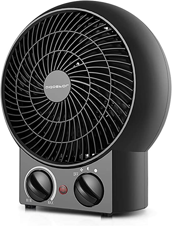 Termoventilatore con termostato regolabile, funzione doppia aria calda 2000w - aigostar airwin black 33iel B01K3X8VH2