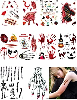 YDYDCOT Halloween Temporary Tattoo Sticker Waterproof Zombie Stitch Scar Realistic Fake Bloody Wound Masquerade Prank Props (Set A)