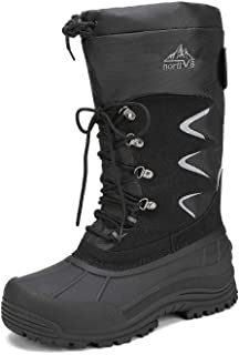 NORTIV 8 Men's Waterproof Hiking Winter Snow Boots Insulated Fur Liner Lightweight Outdoor Tall Booties