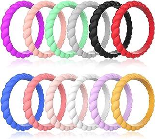 Zollen 12 بسته حلقه های عروسی سیلیکون برای زنان ، لاستیک نازک بافته لاستیکی حلقه های حلقوی حلقوی ، سیلیکون هیپوآلرژنیک