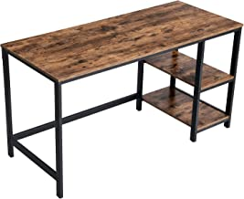 VASAGLE ALINRU Computer Desk, 55.1-Inch Long Home Office Desk for Study, Writing Desk with 2 Shelves on Left or Right, Steel Frame, Industrial, Rustic Brown and Black ULWD55X