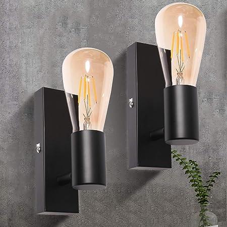 Applique Murale Interieur Noire Ketom Vintage Industrielle Lampe Murale LED Orientable Rétro Luminaire Mural pour Bar, Café, Chevet, Escalier, Couloir, Douilles E27 Sans Ampoule, Paquet de 2