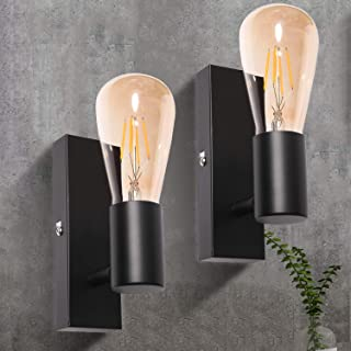 Applique Murale Interieur Noire Ketom Vintage Industrielle Lampe Murale LED Orientable Rétro Luminaire Mural pour Bar, Caf...