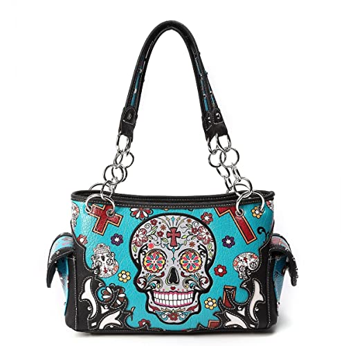 c2bf11c49b Sugar Skull Purse with Concealed Carry Pocket Day of The Dead Handbag
