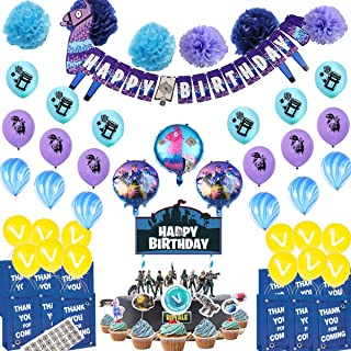 Video Game Party Supplies - 78 Video Game Party Decoration Pack Including 33 Ballons, a Birthday Banner, a Cake Topper, 12 Cup Cake Toppers, 6 Pom Pom Flowers, 12 Party Favor Bags, Great for Boys Birthday Party