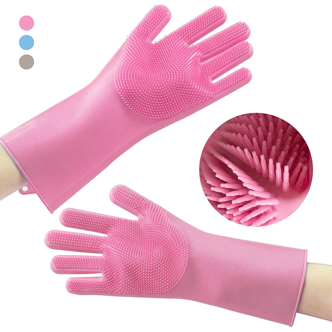 JuneLady Silicone Dishwashing Gloves with Wash Scrubber Magic Gloves Heat Resistant Waterproof Gloves for Kitchen, Bathroom, Pet Grooming, Car Washing