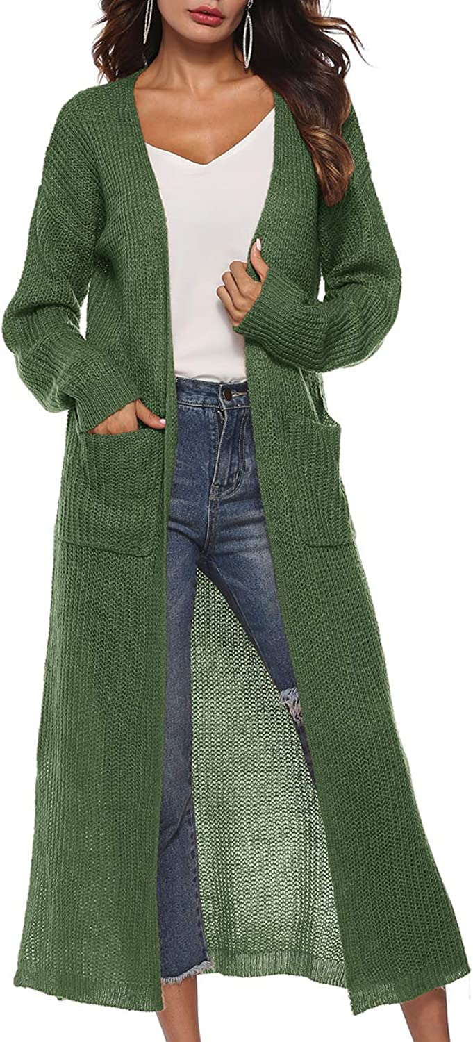 Blingfit Womens Casual Long Sleeve Split Open Cardigan Knit Long Cardigan Sweaters with Pockets