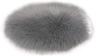 Cojín de Silla Redondo en 5 Colores Diferentes y 3 tamaños - Cojín de Asiento de Piel esponjosa de Piel sintética (Gris, 30 cm)