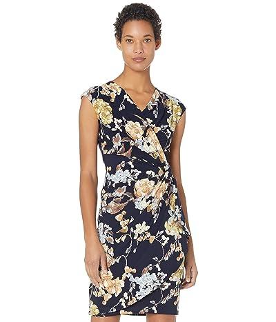LAUREN Ralph Lauren Floral Pleated Surplice Dress