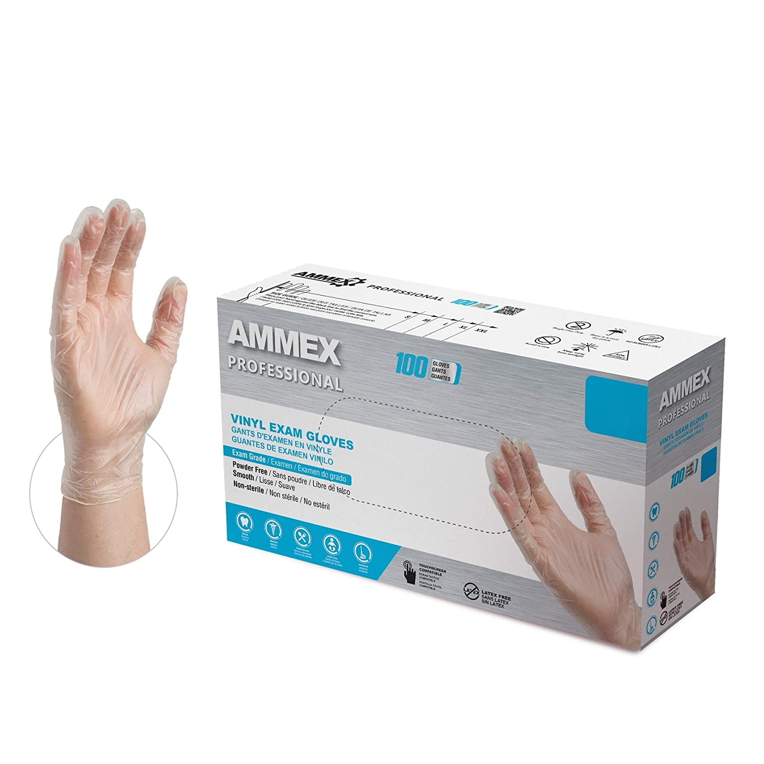 AMMEX Clear Vinyl Medical Gloves, Box of 100, 3 Mil, Size Small, Latex Free, Powder Free, Disposable, Non-Sterile, Food Safe, VPF62100-BX : Health & Household