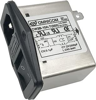 Noise Suppressor Power EMI Filter Termianl Single-Phase Line-Conditioner JREle AC 115/250V 10A CW2B-10A-T