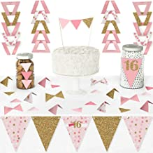 Big Dot of Happiness Sweet 16 - Diy Pennant Banner Decorations - 16th Birthday Party Triangle Kit - 99 Pieces