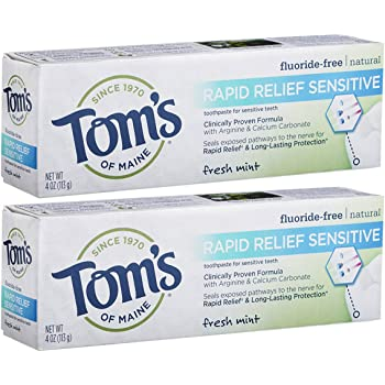Tom's of Maine, Natural Rapid Relief Sensitive Toothpaste, Natural Toothpaste, Sensitive Toothpaste, Fresh Mint, 4 Ounce, 2-Pack