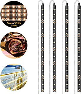 Geeon LED Strip Lights Waterproof 12V 2700K Warm White for Auto Car Truck Motorcycle Boat Interior Lighting UL Listed 30CM/12'' 3528 SMD Pack of 4