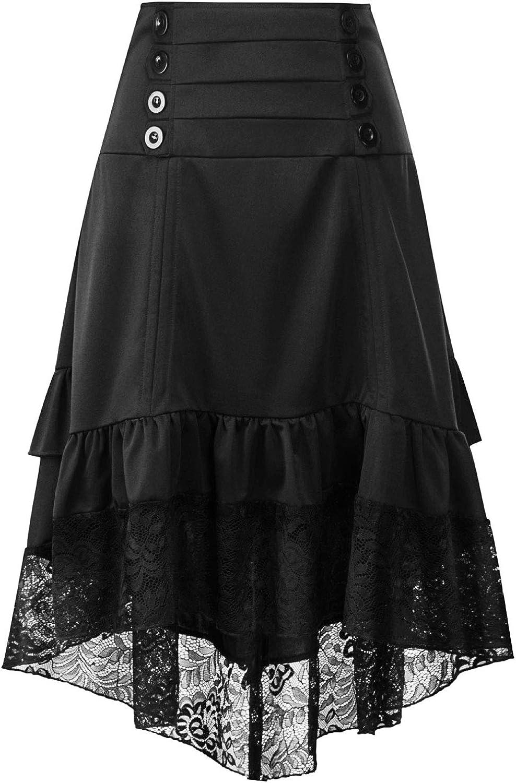 CHARTOU Women's Retro High Waist Hi-Low Layered Lace Hem Side Zip Ruffle Midi A-Line Skirt