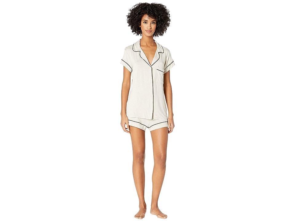 Eberjey Gisele The Short Boxed Pajama Set (Oatmeal Heather/Charcoal) Women