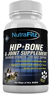 NutraFitz Hip Bone and Joint Supplement for Dogs -Glucosamine Chondroitin for Dogs, MSM, Organic Turmeric - Hip Dysplasia,...