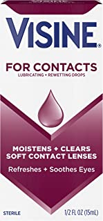 Visine For Contacts Lubricating + Rewetting Drops, Sterile Refreshing & Rewetting Drops for Daily and Soft Contact Lenses, Thimerosal-Free, 0.5 fl. oz ( Pack of 6)