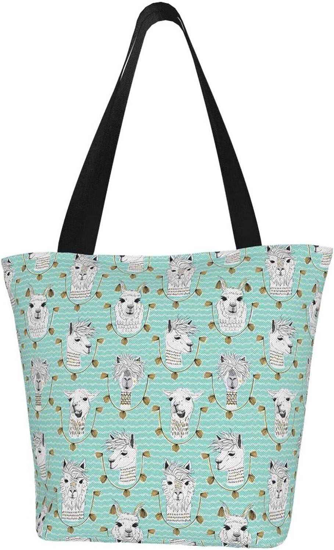 Blue Cute Head Llama Themed Printed Women Canvas Handbag Zipper Shoulder Bag Work Booksbag Tote Purse Leisure Hobo Bag For Shopping