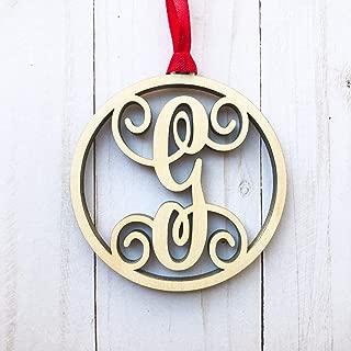 Circle Vine Monogram Wood Christmas Ornament - Letter G