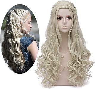 Mersi Daenerys Targaryen Wig Khaleesi Cosplay Wigs Long Blonde Braided Party Hair Wigs for Halloween (Blonde) S039G
