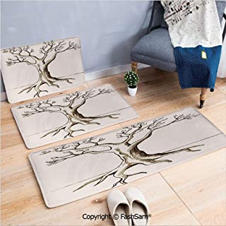 FashSam 3 Piece Non Slip Flannel Door Mat Hand Sketch of Tree with Few Leaves Branches Ready for Growth Fertile Print Indoor Carpet for Bath Kitchen(W15.7xL23.6 by W19.6xL31.5 by W17.7xL53)