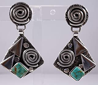 Sterling Silver Navajo Petroglyph Turquoise Mountain Earrings Alex Sanchez