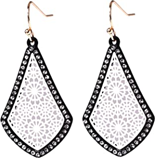 "1.75"" Inch Vintage Filigree Black and White Ivory Teardrop Antique Flower Leaf Metal Dangle Alloy Earrings"