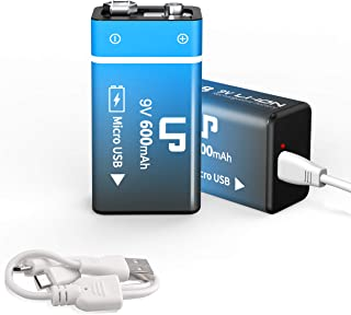 LP 9V Rechargeable Battery Pack, 2-Pack 9V 600mAh Li-ion USB Battery for Alarms, Wireless Microphones, Smoke Detectors, Toys, Flashlights & More