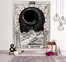 Jasion Tarot Tapestry The Moon The Sun The Star Tapestry Medieval Europe Divination Black and White Hippie Mysterious Wall Hanging Art for Home Headboard Bedroom Living Room Dorm Decor in 51x60 Inches