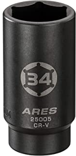 ARES 25005-1/2-Inch Drive 6 Point Axle Nut Socket (34MM) - Extra Deep Impact Socket for Easy Removal of Axle Shaft Nuts