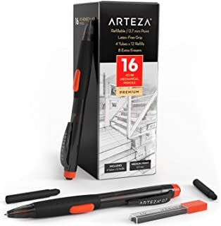Arteza HBシャープペンシルパック16本パック、0.7mm ミディアムポイントリード、リフィル48個、交換可能消しゴムと予備消しゴム8個、ラテックスフリーグリップ