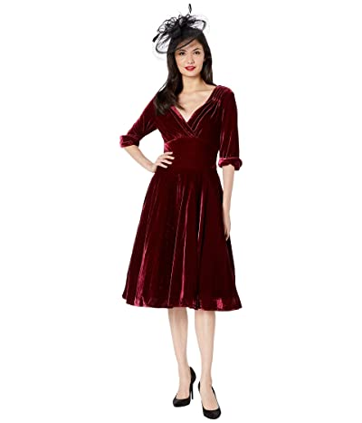 Unique Vintage 1950s Delores Swing Dress with Sleeves (Burgundy Velvet) Women