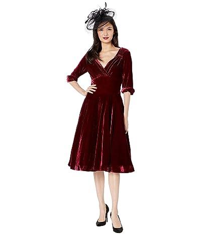 Unique Vintage 1950s Delores Swing Dress with Sleeves (Burgundy Velvet) Women