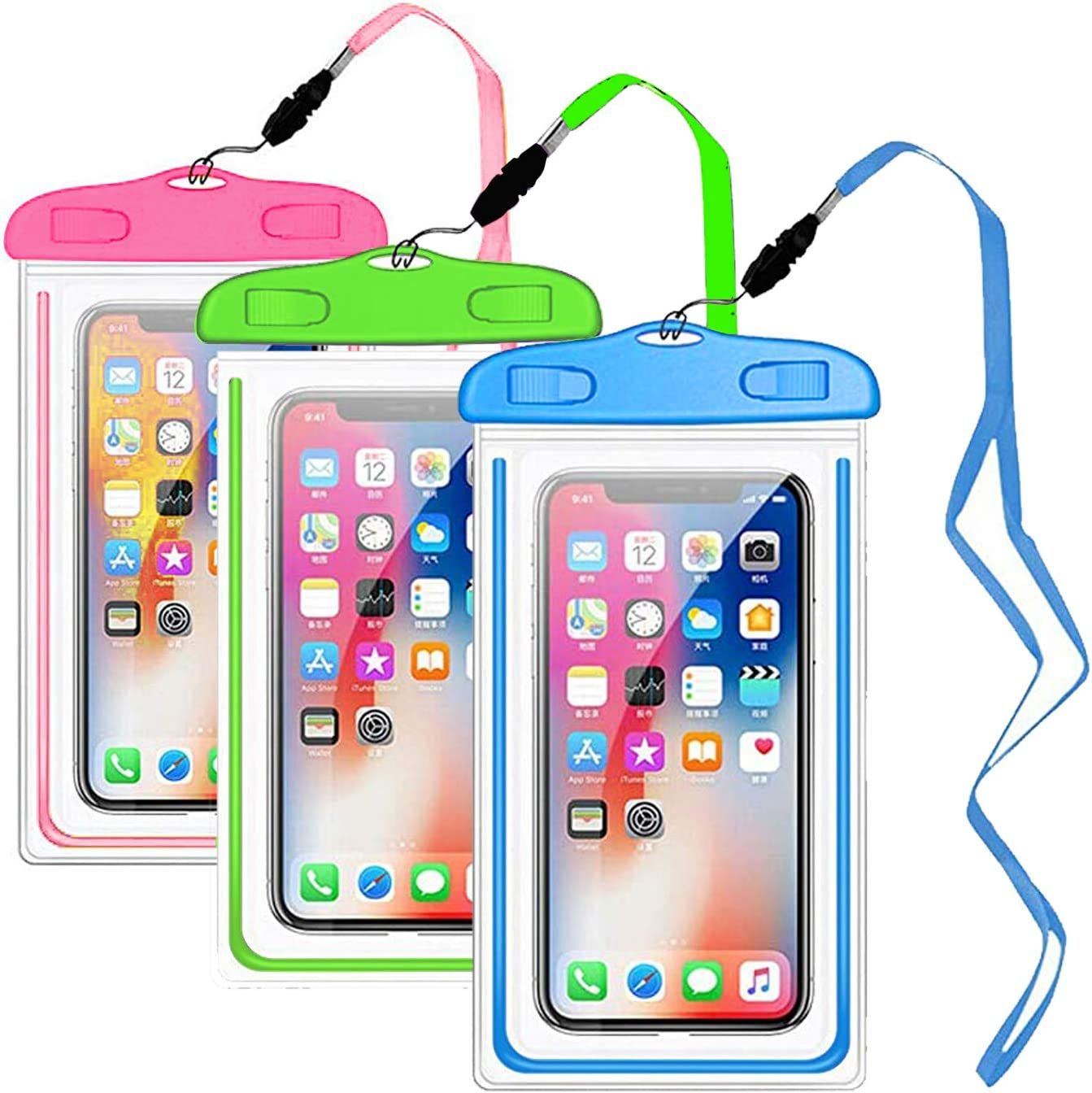 YOHOTA 3-Piece Waterproof Phone Pouch for Smart Phones Below 6.5 inches (Pink,Grenn,Sky Blue)