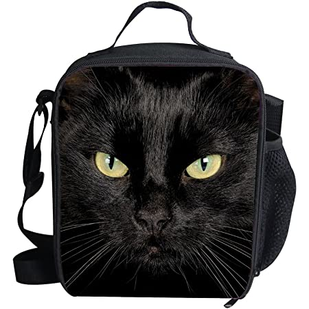 Coloranimal Fashion Black Cat Lunch Bags for Kids Women 3D Animal Lunchboxes