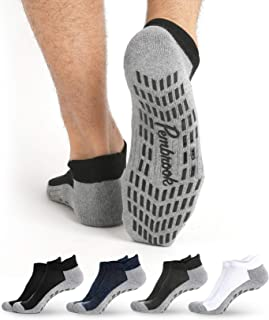 Non Skid Ankle Socks - (4 Pairs) - Anti Slip Socks for Barre Yoga Pilates Maternity Pregnancy Hospital Adults Men Women