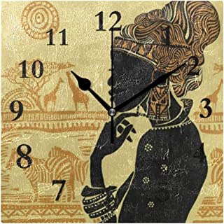 FunnyCustom Beautiful African Woman Zebra Giraffe Square Wall Clock 7.8 Inch Hanging Clock for Living Room/Kitchen/Bedroom