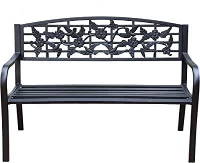 Sunset Vista Designs 300297 Birds & Blooms Steel Outdoor Patio Garden Bench, Black