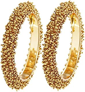 Efulgenz Fashion Jewelry Indian Bollywood 14 K Gold Plated Faux Beads Bracelets Bangle Set (2 Piece)